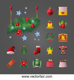 set of icons christmas eve, christmas merry