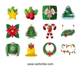 set of icons of the christmas in white background