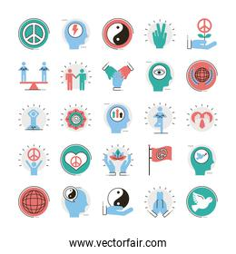 bundle of twenty five peace set line and fill style icons in gray background