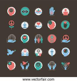 bundle of twenty five peace set line and fill style icons