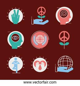 bundle of nine peace set line and fill style icons