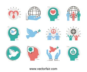 bundle of twelve peace set line and fill style icons