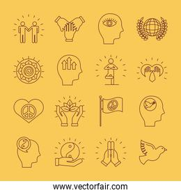 bundle of sixteen peace set line style icons in yellow background