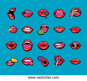 bundle of twenty mouths and lips set icons in blue background