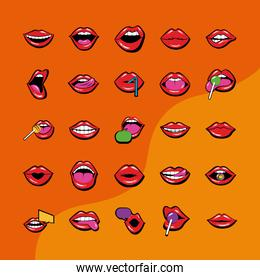 bundle of twenty five mouths and lips set icons in orange background
