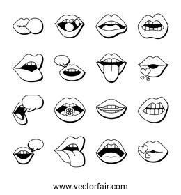 bundle of sixteen mouths and lips set icons in yellow background