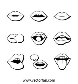 bundle of nine mouths and lips set icons in green background