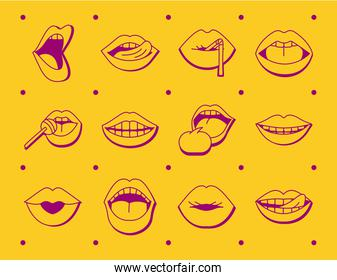 bundle of twelve mouths and lips set icons