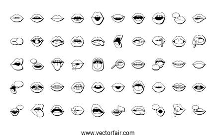 bundle of fifty mouths and lips set icons