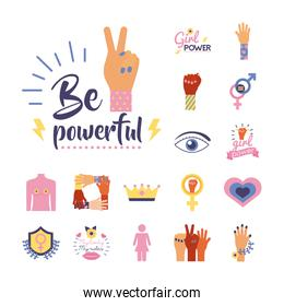 bundle of feminism flat style icons in purple background