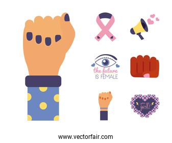 bundle of feminism flat style icons in pink background