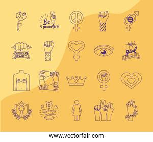 bundle of feminism line style icons in yellow background