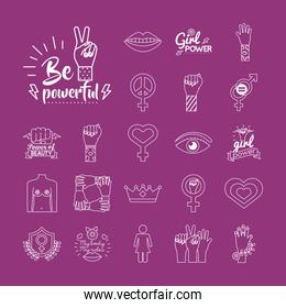 bundle of feminism line style icons in purple background