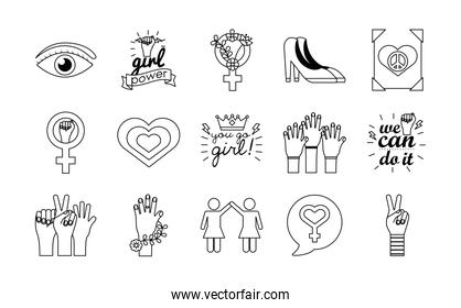 bundle of fifteen feminism line style icons