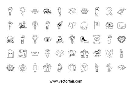 bundle of fifty feminism line style icons