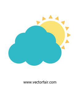 Cloud with sun flat style icon vector design