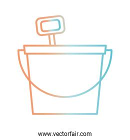 sand bucket with shovel gradient style icon vector design