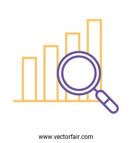 bars chart with lupe line style icon vector design