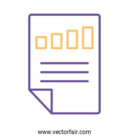 bars chart in document line style icon vector design