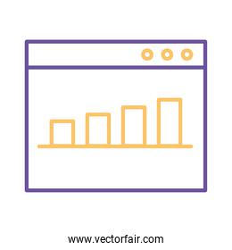 bars chart in website line style icon vector design