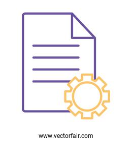 document with gear line style icon vector design