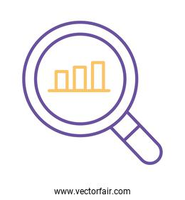 bars chart in lupe line style icon vector design