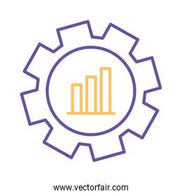 bars chart in gear line style icon vector design