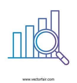 bars chart with lupe gradient style icon vector design