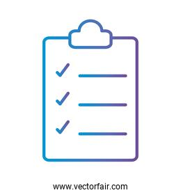 document with check marks gradient style icon vector design