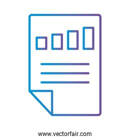 bars chart in document gradient style icon vector design