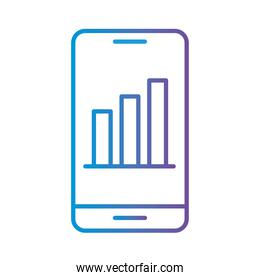bars chart in smartphone gradient style icon vector design