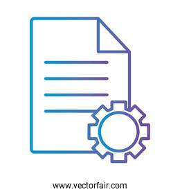 document with gear gradient style icon vector design