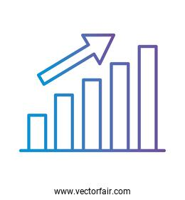 bars chart with increase arrow gradient style icon vector design