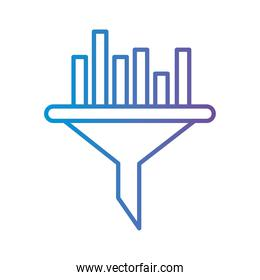 bars chart on funnel gradient style icon vector design