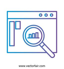 bars chart in lupe on website gradient style icon vector design