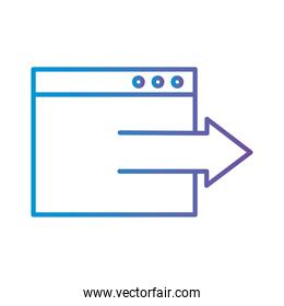 website with arrow gradient style icon vector design
