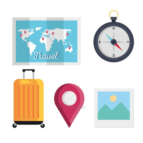 summer and travel set icons vector design