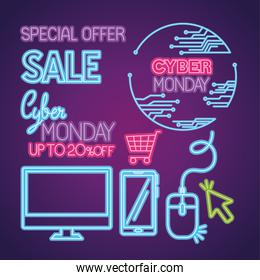 cyber monday neon icon set vector design
