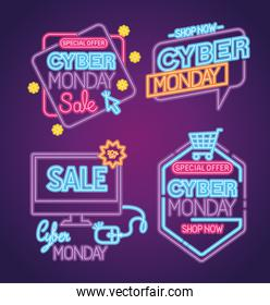 cyber monday neon set icons vector design