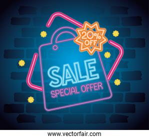 cyber monday neon with bag vector design