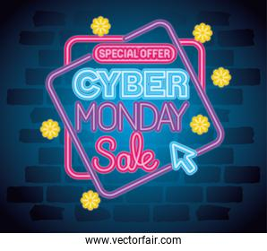 cyber monday neon banner vector design
