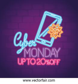 cyber monday neon with smartphone vector design