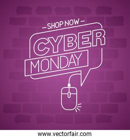 cyber monday neon in bubble vector design