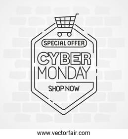 cyber monday with cart vector design