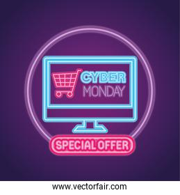 cyber monday neon with cart in computer vector design