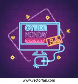 cyber monday neon in computer with mouse vector design
