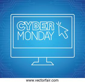 cyber monday neon in computer vector design
