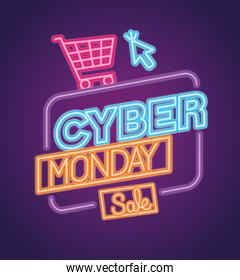 cyber monday neon with cart and cursor vector design
