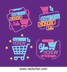 cyber monday neon icon collection vector design