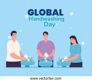 Global handswashing day men and woman washing hands with water tap vector design